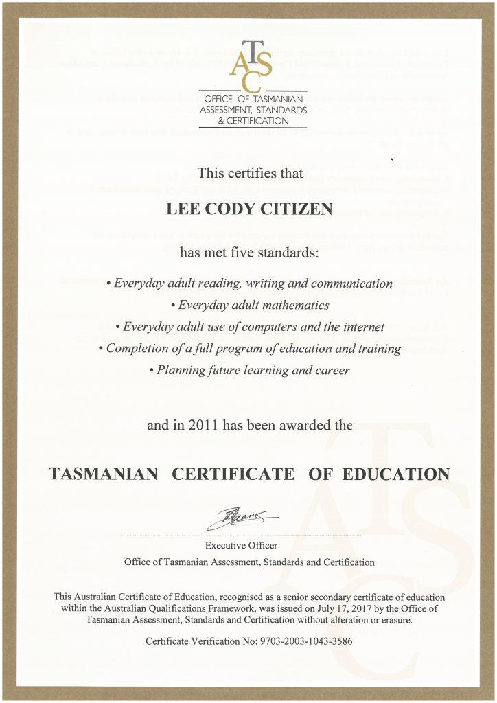 tasmanian certificate of education  tce