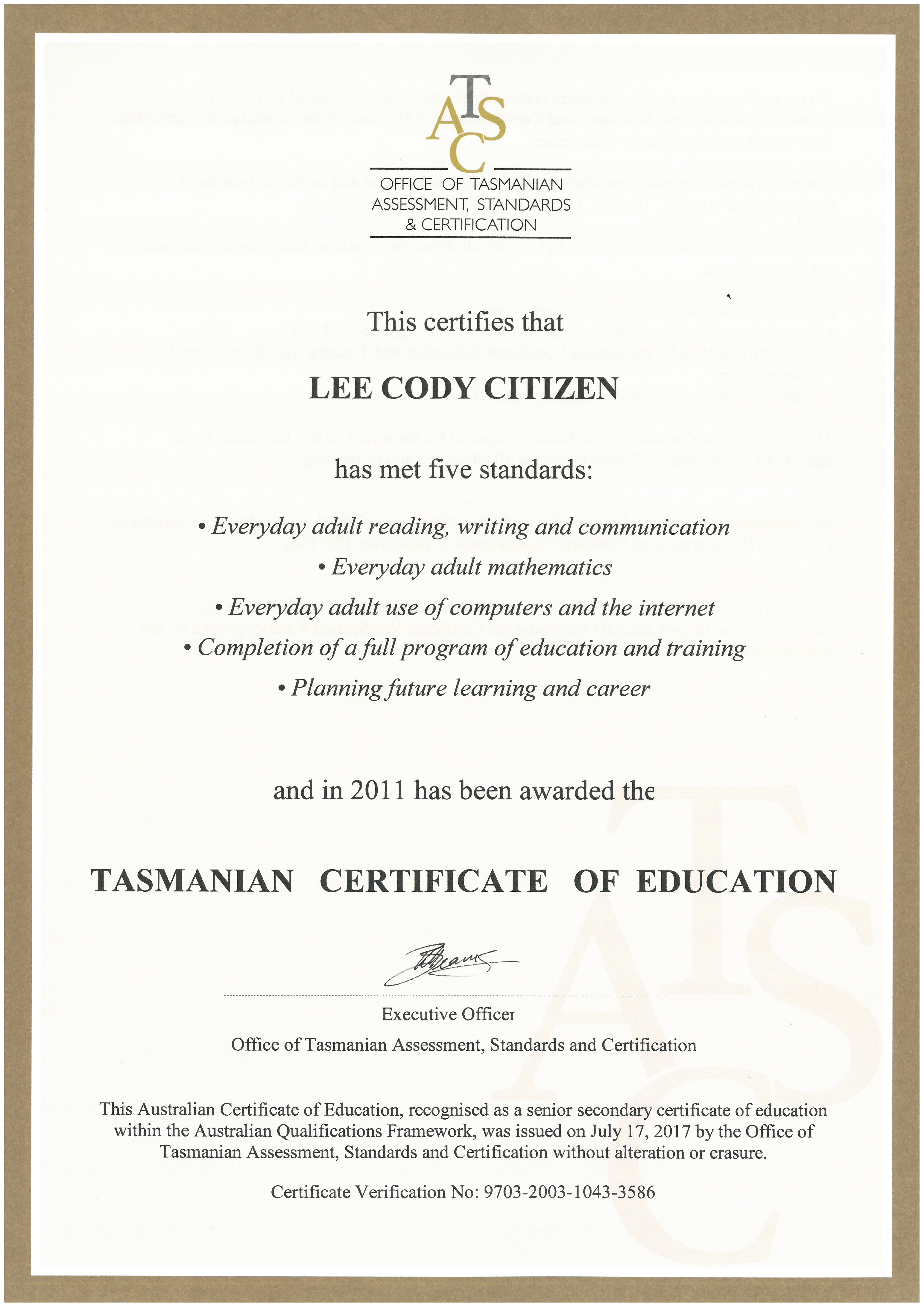 Tasmanian Certificate of Education (TCE) - TASC