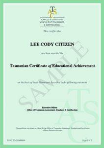 tasmanian certificate of educational achievement tcea tasc
