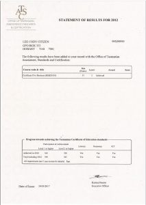 Image of Statement of Results Certificate